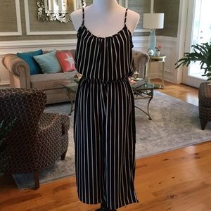 Black and white stripe Cropped Romper EUC